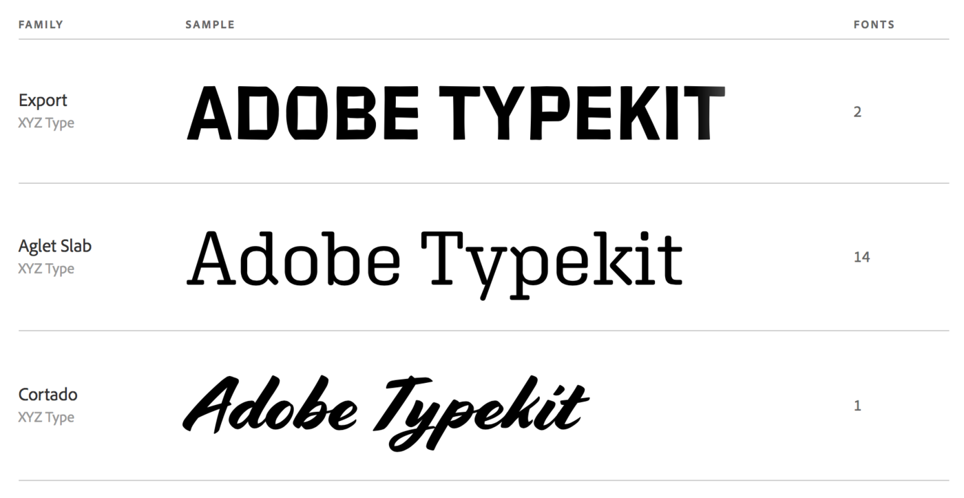 Typekit family list 1400 xxx